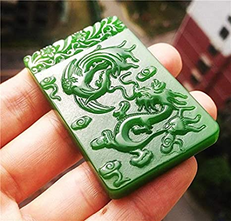Chinese old natural hetian jade hand-carved dragon design pendant 2.4 inch