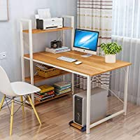 Home Office Computer Desk with Storage Shelves and Bookshelf 120cm Computer Desk Workstation Large Compact Studying able…