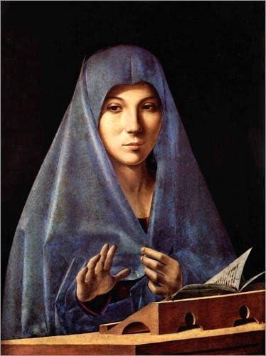 Nuovo Poster Artistico Poster 30 x 40 cm Mary of The Annunciation di Antonello da Messina Stampa Artistica Professionale