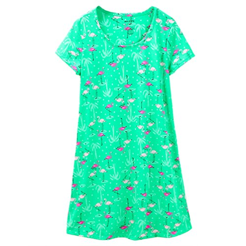 ENJOYNIGHT Women's Sleepwear Cotton Sleep Tee Short Sleeves Print Sleepshirt (Large, Flamingo) (Sleepwear Women Nightshirts For)