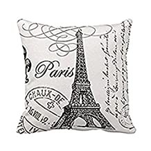 Paris Eiffel Tower Stamp Square Custom Throw Pillow Case Personalized Cushion Cover Pillowcase Pillow Cover 16x16