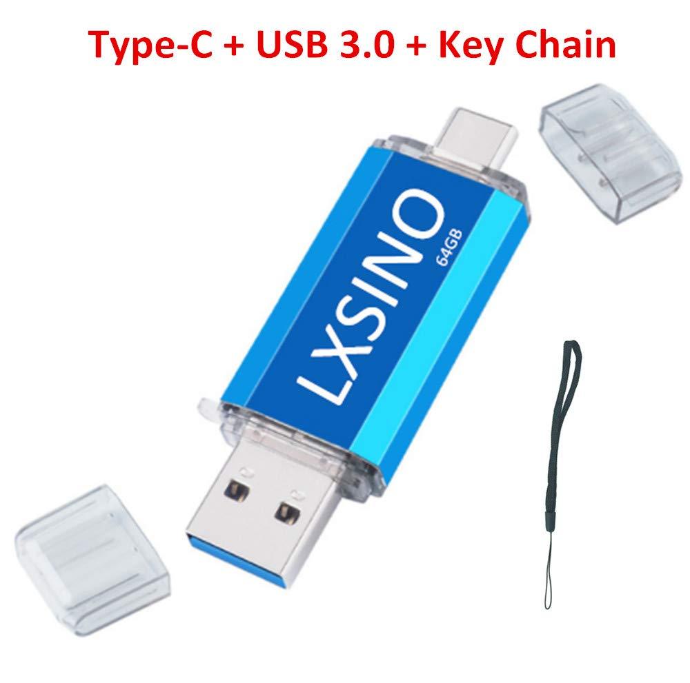 LXSINO 64 GB Unidad de Memoria Flash USB 3.0 de Tipo C Dual de Unidad de Memoria OTG para teléfonos Inteligentes Tipo C, Samsung Galaxy S9, Note9, S8, ...