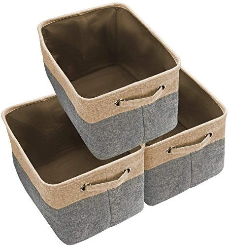 Awekris Large Storage Basket Bin Set [3-Pack] Storage Cube Box Foldable Canvas Fabric Collapsible Organizer with Handles for Home Office Closet, Grey/Tan (Grey) ()