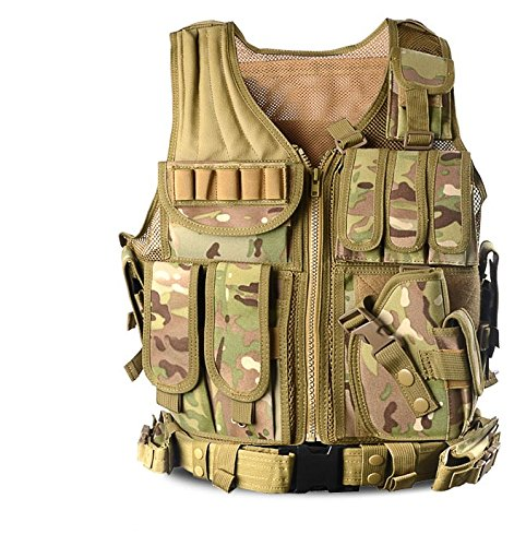 Invenko Tactical Airsoft Paintball Combat Military Swat Assault Army Shooting Hunting Outdoor Molle Police Vest (Breathable Camo)