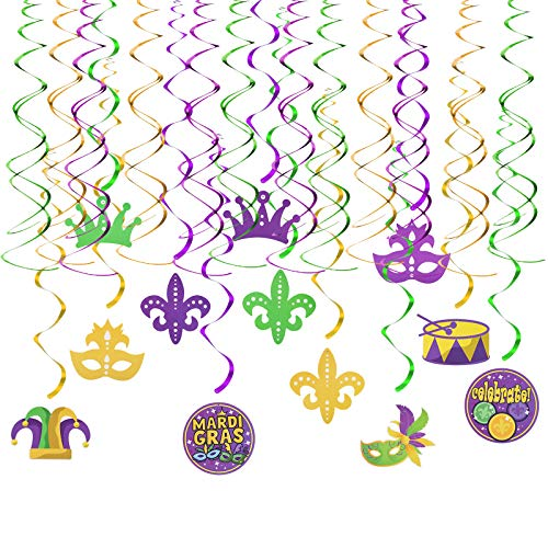 SUNKIM 24Pcs Mardi Gras Hanging Swirl Party Decoration Kit with Masquerade Masks Crown Pattern for Mardi Gras Theme Party Carnival New Orleans Photo Prop Supplies