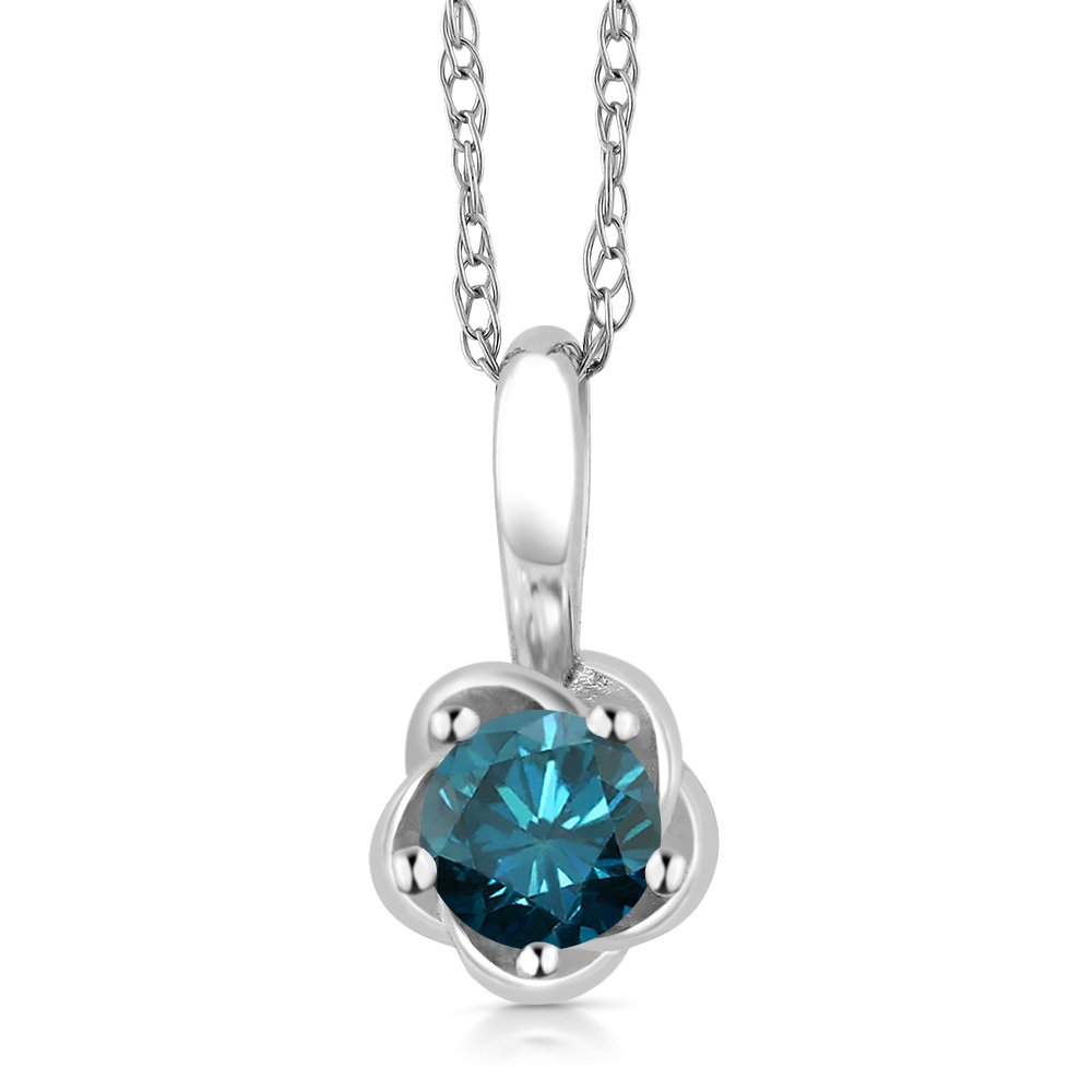 10K White Gold 0.15 Ct Round Blue Diamond Pendant With Chain