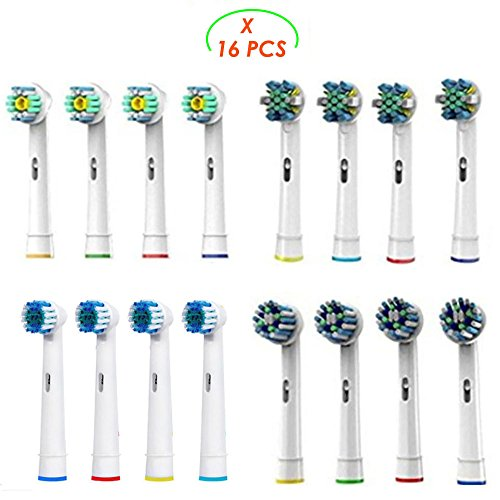Replacement Brush Heads Compatible with Oral b Braun Electric Toothbrush – 16 Pack of Brush Heads Including 4 Floss Action,4 Cross Action, 4 Flexible and Soft & 4 Pro White by Bixshell
