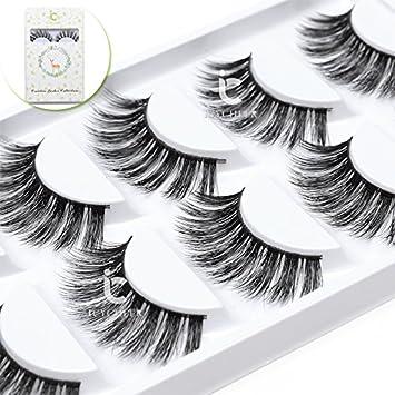 0c4146a2883 Amazon.com : Luxurious 100% Siberian Mink Fur 3D False Eyelash ICYCHEER  Degisn Natural Messy Volume Fluffy Long Hot Fake Eyelashes 5 Pairs/Box (27)  : Beauty