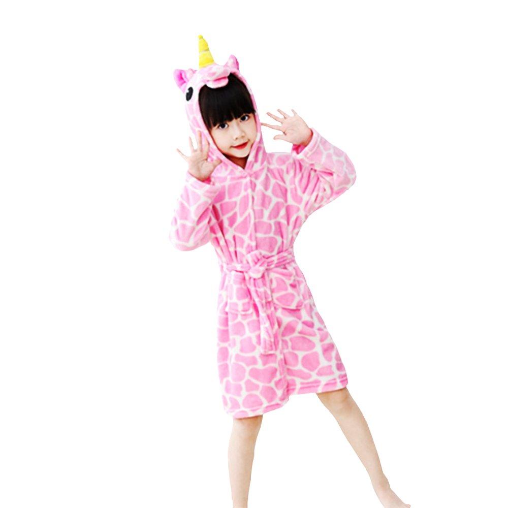 Woneart Kinder-Bademantel mit Kapuze Morgenmantel Einhorn Schlafanzug Tier Cosplay Kostüme Ankleiden Robe Loungewear Nachtwäsche für Mädchen Jungen Baby