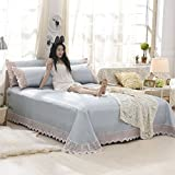 AMYDREAMSTORE Summer Sleeping Mat,Ice Silk Mat Three-Piece 1.5 M 1.8m Bed Cover Double Folding Air Conditioning Soft Mat Lace Bed Skirt Type-D Queen1