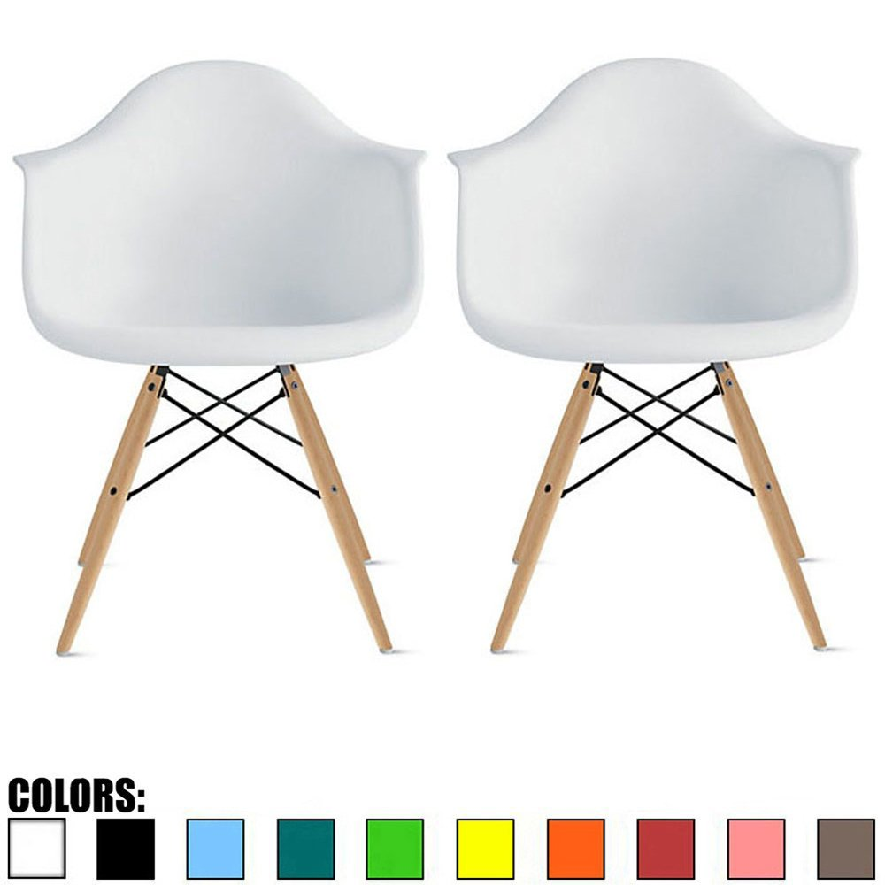 2xhome – Set of Two 2 White Contemporary Mid Century Modern Plastic Style Armchair with Back Eiffel Natural Wood Wooden Legs Dining Chair Molded Plastic Arms Chair Base for Kitchen Dining Living Room