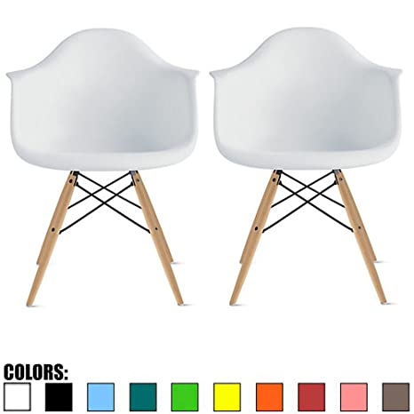 2xhome - Set of Two 2 White Contemporary Mid Century Modern Plastic Style Armchair with Back Eiffel Natural Wood Wooden Legs Dining Chair Molded ...