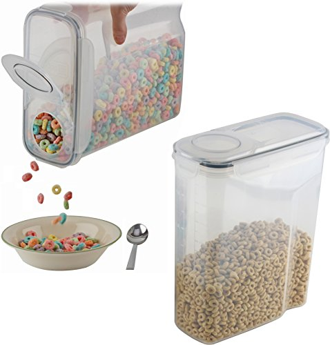 cereal container (2 PACK) - cereal storage containers made of clear plastic - cereal dispenser fits 2 X 169 OZ / 21 cups - Leak ()