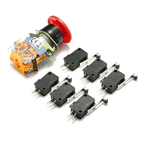SummerHome 1Pcs Red Sign Emergency E-Stop Push Button Switch 22mm with 6pcs End Stop Limited Micro Switch Kit ()