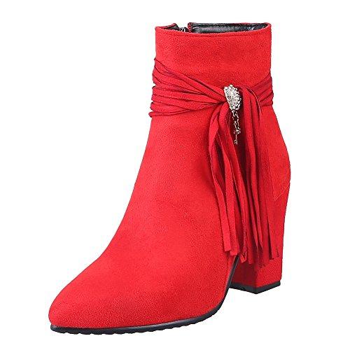 Latasa Kvinnor Tofs Spetsig Tå Blocket Klack Klänning Tossor Röd