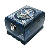 Silver J Wooden musical jewellery box with mirror, lacquer music jewelry box, handmade mother of pearl gift, blue crane