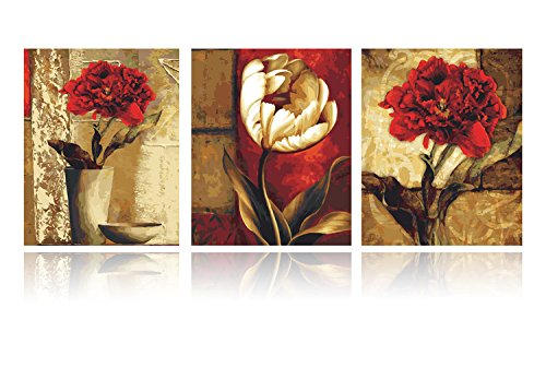 Juniors Pigment - YXQSED Pack of 3[Wooden Framed] DIY Oil Painting Paint by Number Kit for Adults Kids Students Beginner Canvas with Brushes and Acrylic Pigment - Retro Flowers 16x20 inch