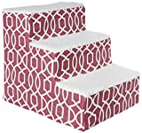 Pet Gear Soft Step III Pet Stairs, 3-Step for Petsup to 50 lb, Trellis Print Dark Cranberry