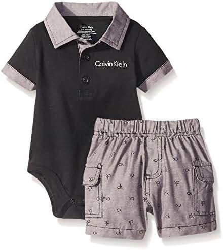 Calvin Klein Baby Boys' Interlock Bodysuit with Woven Shorts