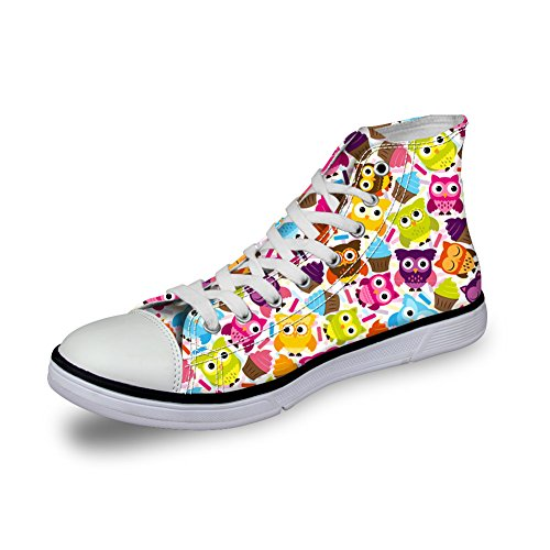up Owl Flat Owl 5 Pattern Lace Cartoon FOR Sneaker Shoes Canvas DESIGNS Cute Women U wRqOxUv4BH