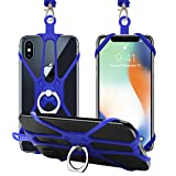 SHANSHUI Cell Phone Lanyard, Soft Detachable Silicone Neck Necklace Holder Strap Including Phone Case Holder with Ring Universal for Smartphones iPhone 8,7, 6S Plus,Samsung Galaxy (Dark Blue)