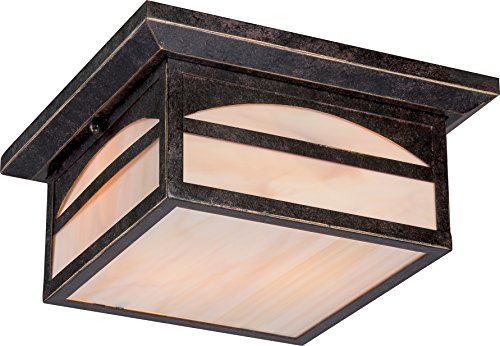 Two Light Outdoor Flush - Nuvo Lighting 60/5656 Canyon Flush 2 Light 60-watt Outdoor Close To Ceiling Porch and Patio Lighting with Honey Stained Glass, Umber Bronze