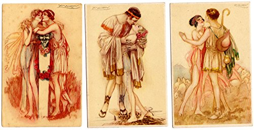 Three Postcards Sexy Couples Roman Lovers Kissing, Mauzan artwork