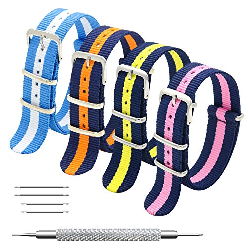 Nato Strap 4 Packs - 20mm 22mm Premium Ballistic Nylon Watch Bands Zulu Style with Stainless Steel Buckle (Navy Orange+Sky White+Navy Yellow+Navy Pink, (Stainless Steel Watch Band Buckle)
