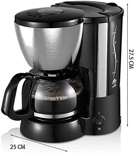 GUOXY Volautomatische elektrische koffiezetapparaat, warmteplaat, anti-druppelsysteem, roestvrij staal, met 650 ml glazen watertank, automatische isolatie en anti-druppelfunctie
