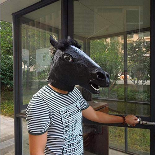 Algol - Novelty Creepy Mascaras Halloween Horse Head Animal Mask Masque Latex Rubber Costume Cosplay Theater Prop Party Anonymous -