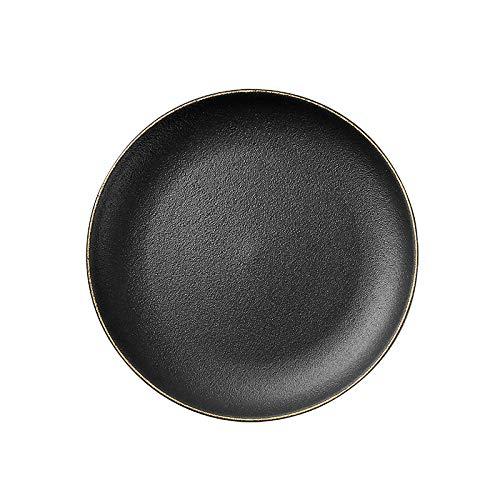 European black crystal gilt ceramic creative cow dish dish plate round fruit flat plate salad plate tableware household black 20.5x2.2cm