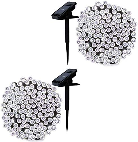 2020 New Upgraded YAOZHOU Clip Solar String Lights Solar 200LED 2Pack Outdoor Waterproof Decor for Garden Patio Umbrella Xmas Decorations Cool White 2pcs