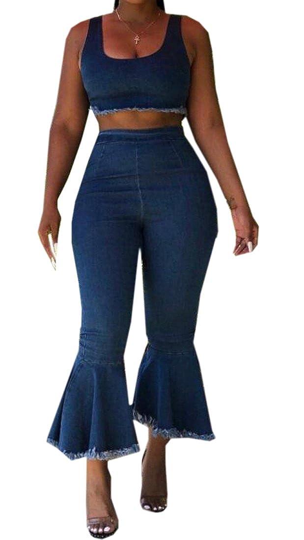 b36d7054ff72 Amazon.com  ARTFFEL-Women 2 Pcs Sleeveless Tank Bell-Bottom Flare Pants  Denim Jumpsuit Romper  Clothing