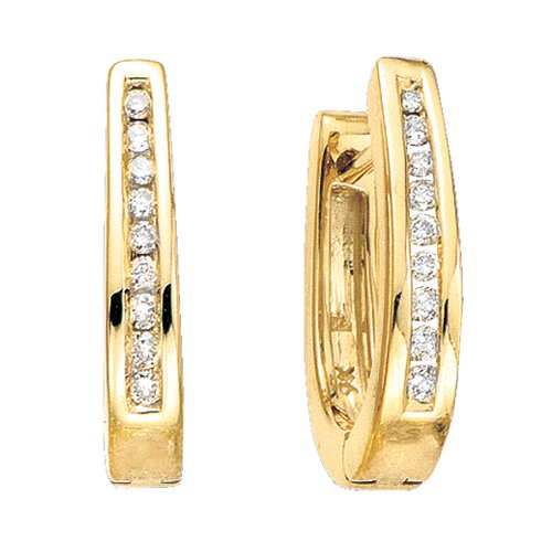 10K Yellow Gold 1/4 ct. Diamond Channel Set U Shaped Huggie Earrings ()