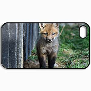 Personalized Protective Hardshell Back Hardcover For iPhone 4/4S, Fox Design In Black Case Color