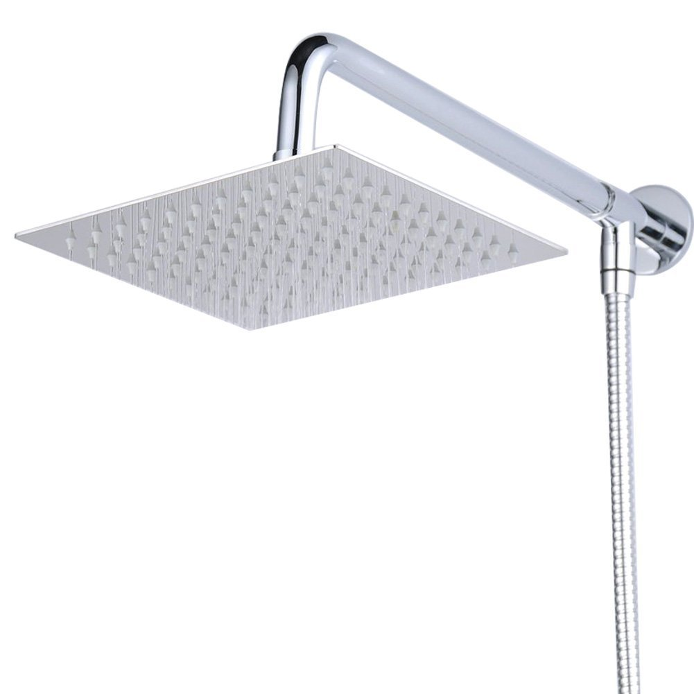 Hiendure Wall Mount 12 inch Rainfall Square Shower Head With Shower ...