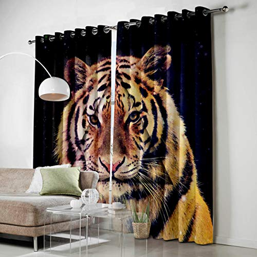 SODIKA Grommet Window Panel Curtain Set, Room Décor Curtain Drapes for Living Room Dining Bedroom - Tiger,Each 27.5 by 39 Inch,Set of Two Panels