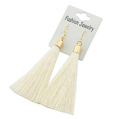 efe6a9b14a5 Tevida Tevida Girl Gold Silver Earrings Silk Tassel Long Drop Earrings  (Beige G)