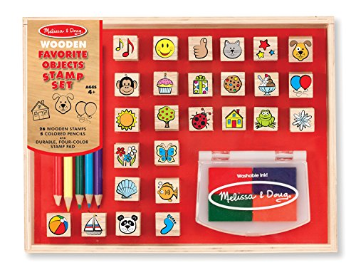 Melissa & Doug Wooden Stamp Set, Favorite Things - 26 Wooden Stamps, 4-Color Stamp Pad Doug Stamp Set