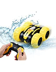 PATIOSNAP Remote Control Car Waterproof Stunt Car- 2.4Ghz 4WD Off Road Water & Land Rc Cars-Double Sides Stunt Car with 360° Spins & Flips Racing Car Toys for Kids Christmas Birthday Gift, Yellow