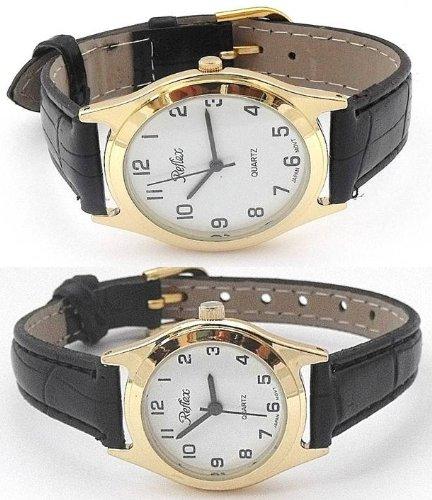 Reflex Gb/Lb - Juego de relojes de pulsera analógicos para hombre y mujer de estilo clásico, color dorado y negro: Amazon.es: Relojes