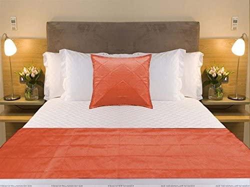 Bed Runner With pillow cover Coral Orange bed Scarf Twin Queen king Polyester