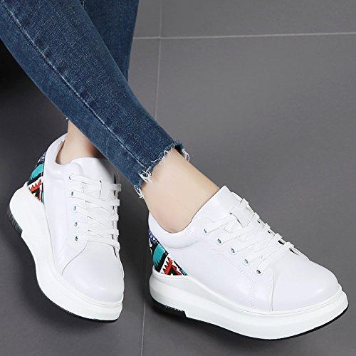 Chaussures Blanc Fond Kphy Casual Plat Printemps Mode Imprim 36 En Femme Cuir Au xHHTwU