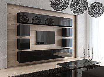 HomeDirectLTD FUTURE 17 Moderne Wohnwand, Exklusive Mediamöbel, TV Schrank,  Neue Garnitur,