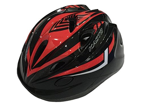 Raider Red Costume (SG Dreamz Kid Kids Cycling Riding Bicycle MTB Mountain Bike Helmet Helmets, Cool Breather Holes, Unisex Boy Girl Child, Safety, Adjuster Dial & Comfortable For Head Size 19.6 - 22 inch (Black Red))
