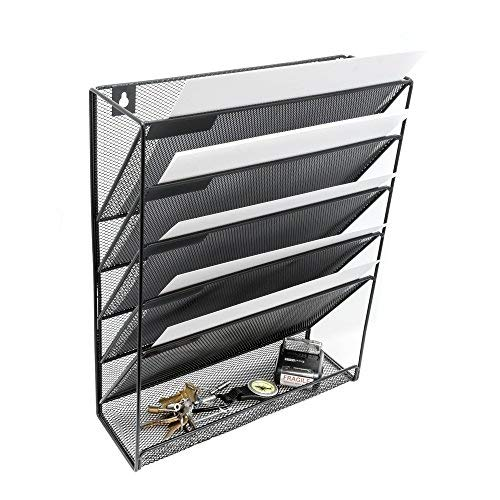 Wall Hanging File Holder Organizer- Mounted Metal Mesh Organizer, 5 Compartment Rack Hanging File and Document Organizer for Office, Home, Classroom