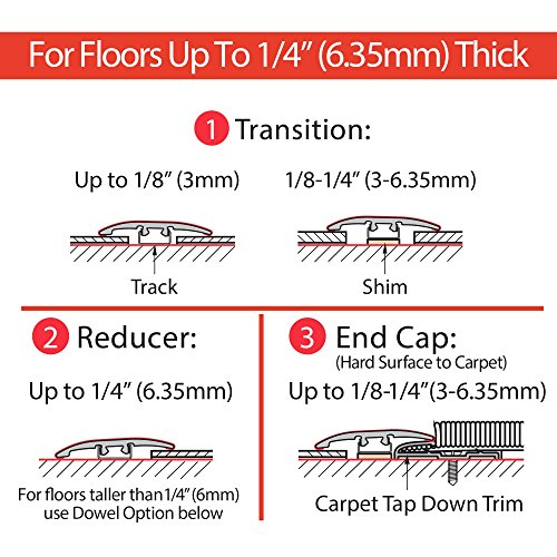 Cal-Flor MD10003 Unitrim Waterproof 3-in1 Floor Molding 2'' Wide x 94'' Long 3-in-1 Laminate, Wpc, Lvt and Vinyl, 3 Pack, Rustic, 3 Piece by Cal-Flor (Image #4)'