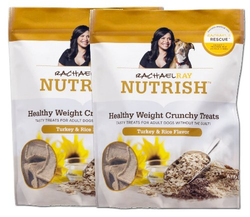 Rachael Ray Nutrish Healthy Weight Crunchy Dog Treats Turkey & Rice Flavor 10 Oz Bag - 2 Pack