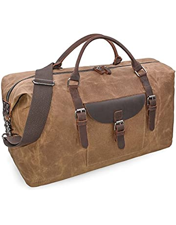 cb75633be2ac8a Oversized Travel Duffel Bag Waterproof Canvas Weekender Leather Overnight  Hand Bag