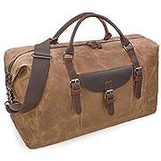 Reisetaschen Herren Leder Wasserdicht Canvas Weekender Tasche Großen Kapazität Reisetasche Unisex Vintage Handgepäck Bag…